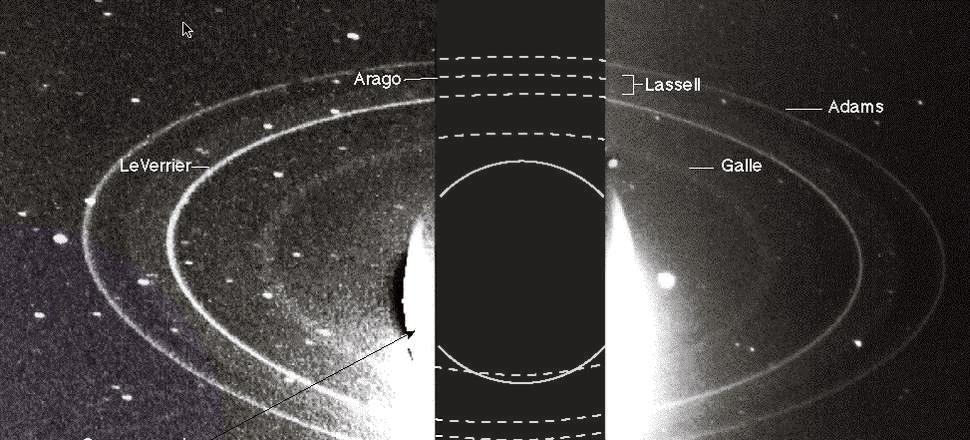 Uzay aracı tarafından çekilen Neptün'ün halkaları