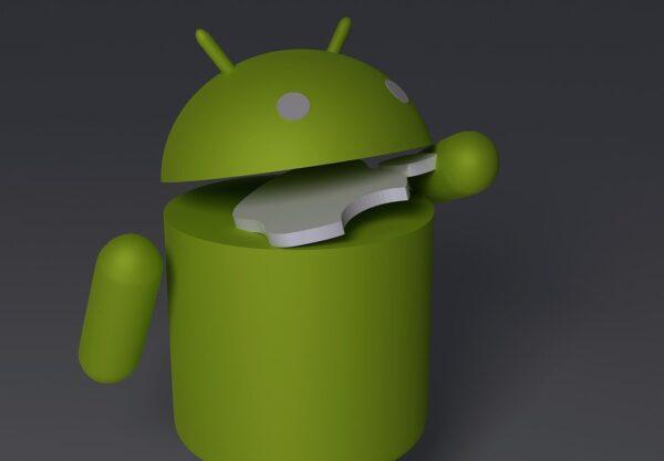 Apple logosunu yiyen android işletim sisteminin yeşil logosu.